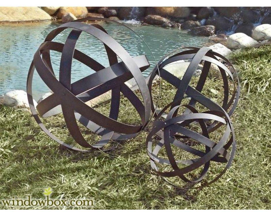 brown metal garden spheres set of 3 garden trellises garden decorations windowbox - Metallic Garden Decor