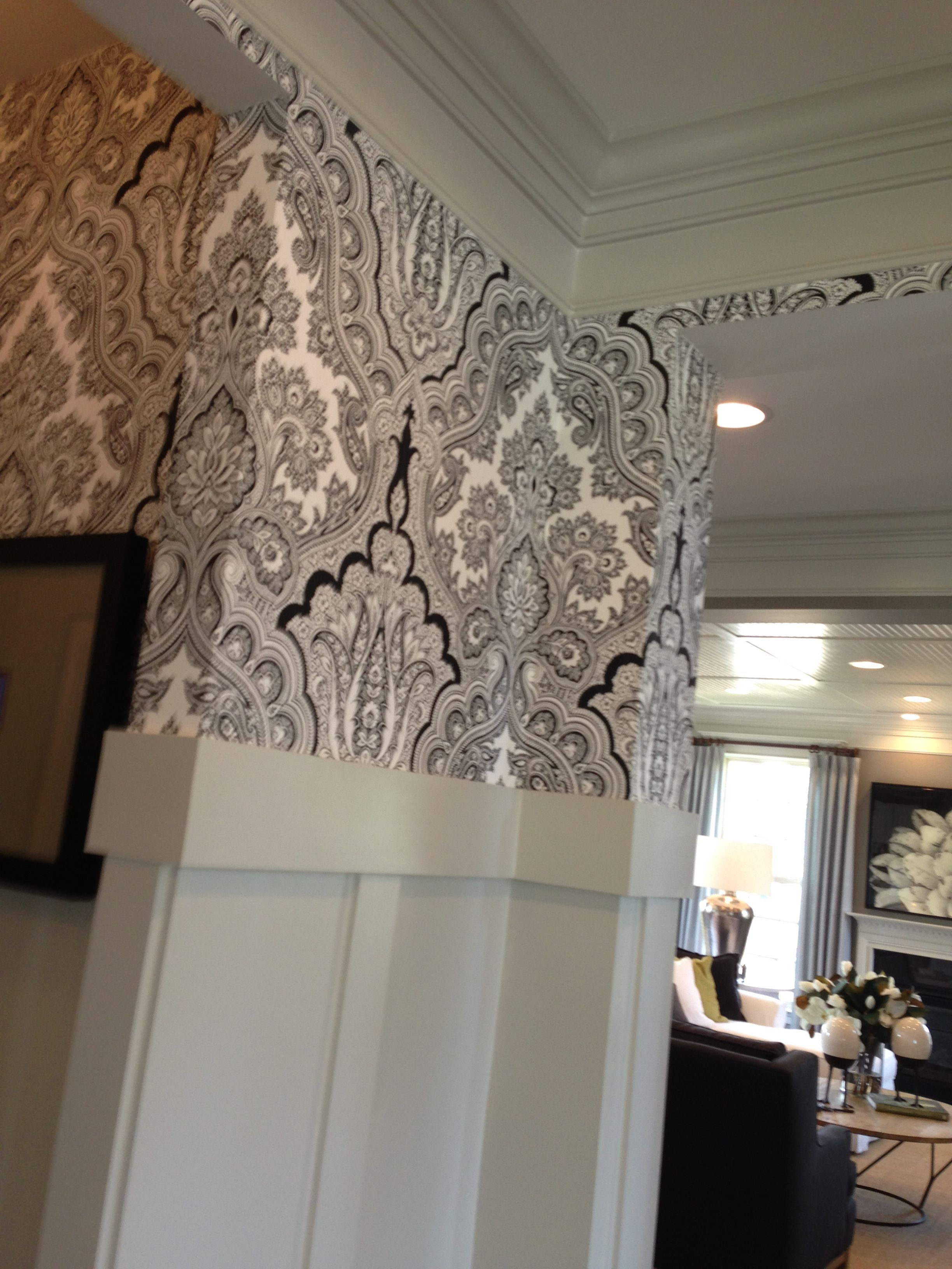 High wainscoting and patterned wallpaper   Faux ...
