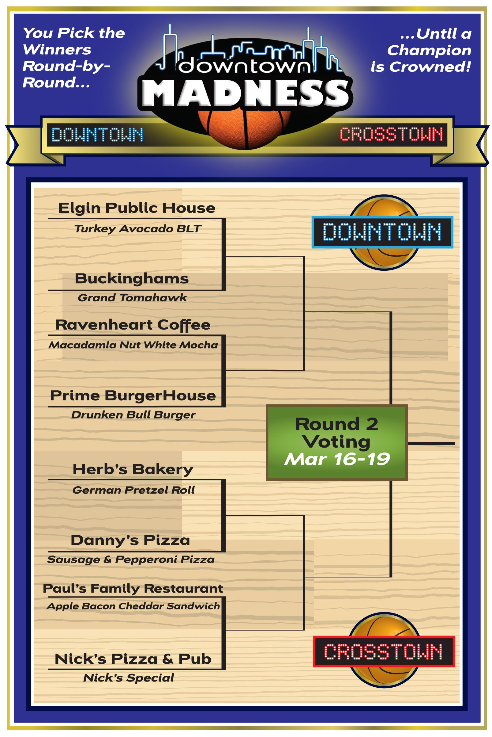 Second Round voting in Downtown Madness: Downtown vs. Crosstown tips off Friday, March 16 at Noon thru Monday, March 19 at 5PM. Vote for your favorite Elgin eateries all month long at www.DowntownElgin.com.