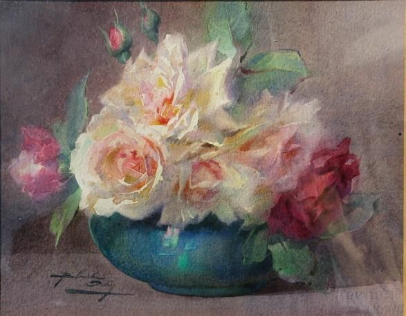 Blanche odin 1865 1957 watercolor pinterest for Bouquet roses blanches