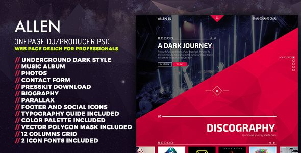Allen One Page Professional PSD Website Template DJ Producer And - Dj website templates