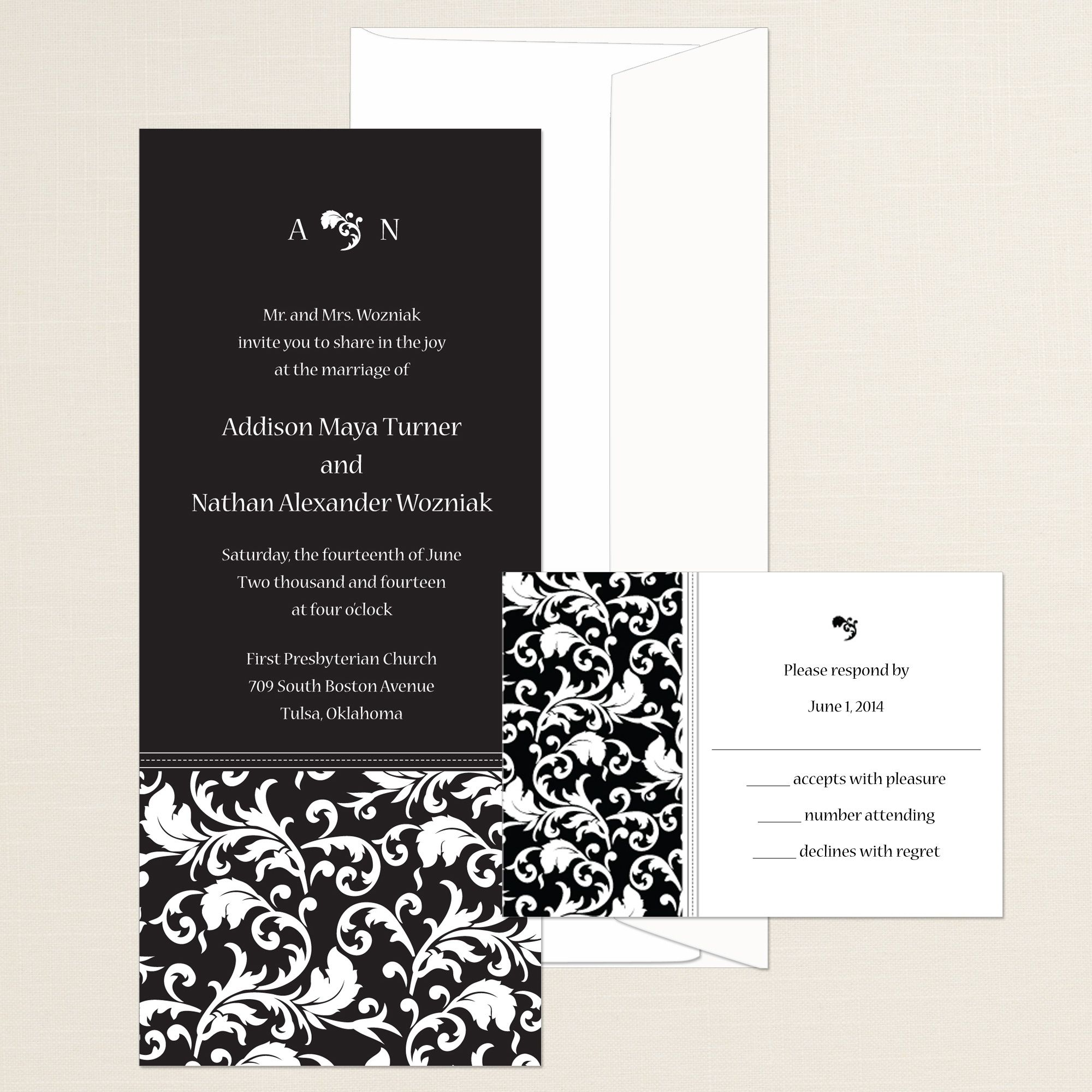 Devine Damask Wedding Invitation (available in other colors ...