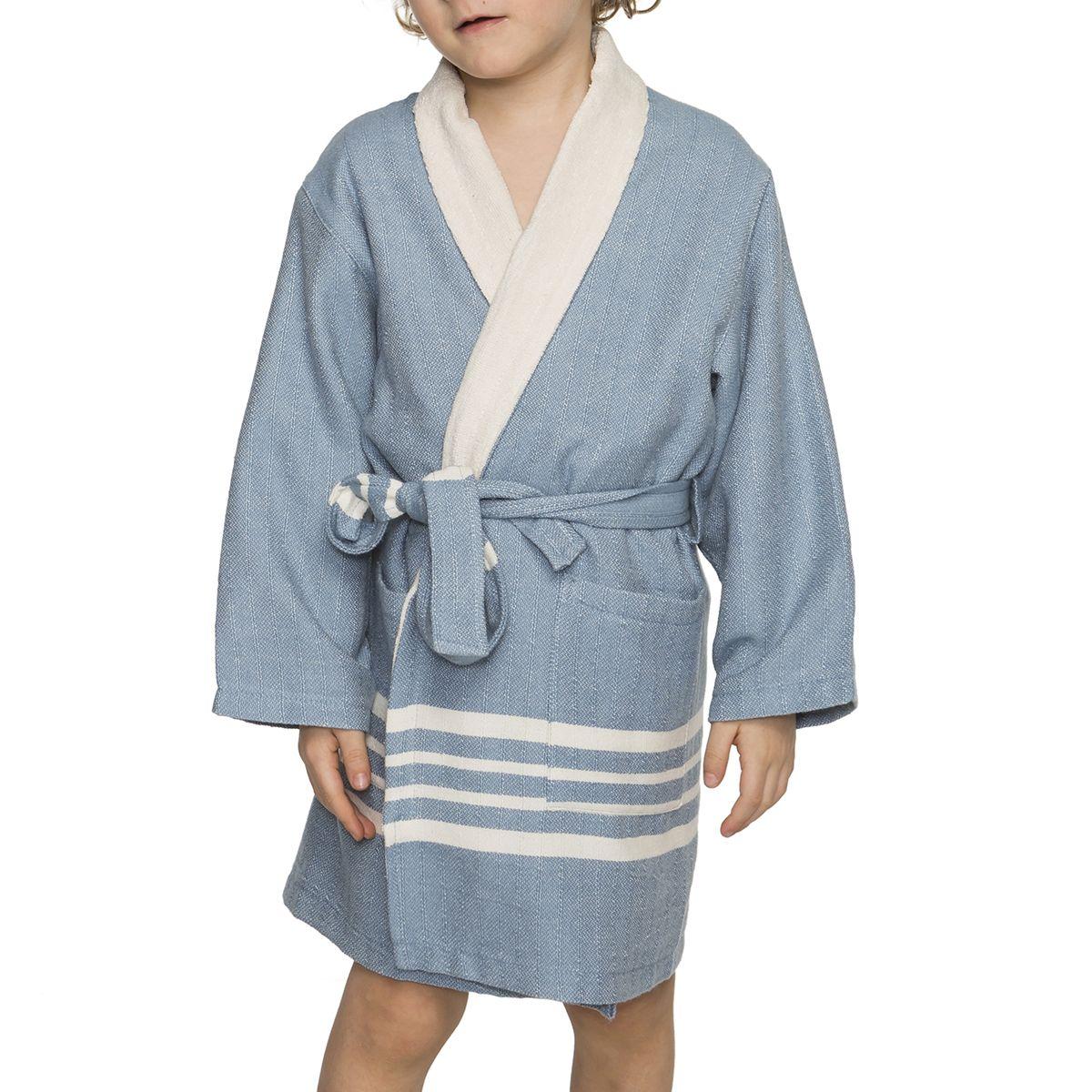 fd4a4c3b3407a KID   CHILD BATHROBE KREM SULTAN WITH NATURAL THIN TERRY LINING - AIR BLUE  Why not