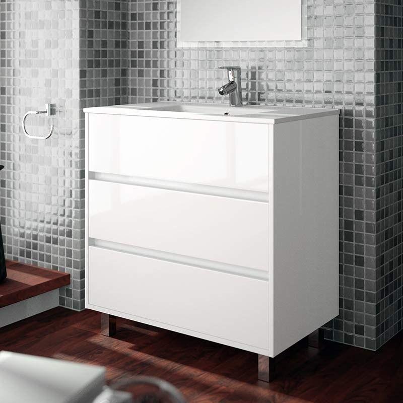 Meuble Salle De Bain 80 Cm 3 Tiroirs Plan Vasque Porcelaine Blanc Aliso Meuble Salle De Bain Meuble De Salle De Bain Salle De Bain