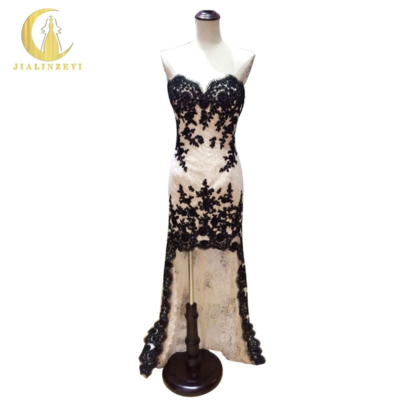 Elgent Real Picture Sweetheart Champagne and Black Lace Appliques Front short long back Formal Dress Prom  Dress Evening Dress