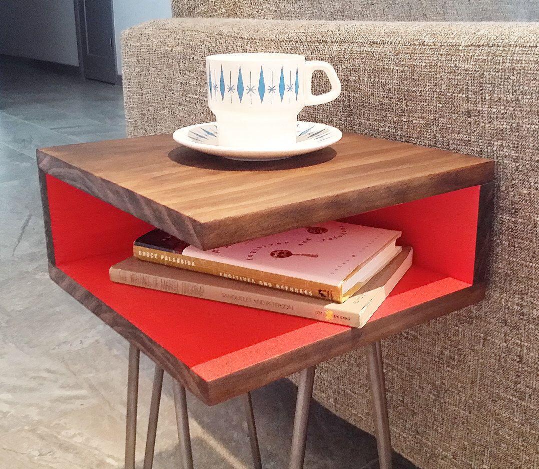 Mid Century Modern Side Table Hairpin Legs Wood Nightstand End  # Muebles Lijados