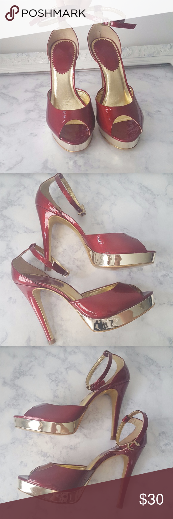 ALDO Heels women sz 7.5 Platform Stiletto ankle ALDO Heels women sz 7.5 Platform Stiletto ankle strap patent leather Red/Gold Platform Stiletto Patent Leather with gold metallic platform and trim has ankle strap leather sole made in Brazil So pretty for all the holiday parties or events ALDO Shoes Heels