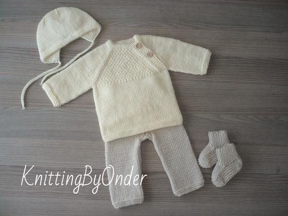 Photo of Baby boy coming home outfit 0-3 months Baby boy shower gift Hand knitted newborn clothes Ivory baby boy outfit Baby boy clothes Baby boy set