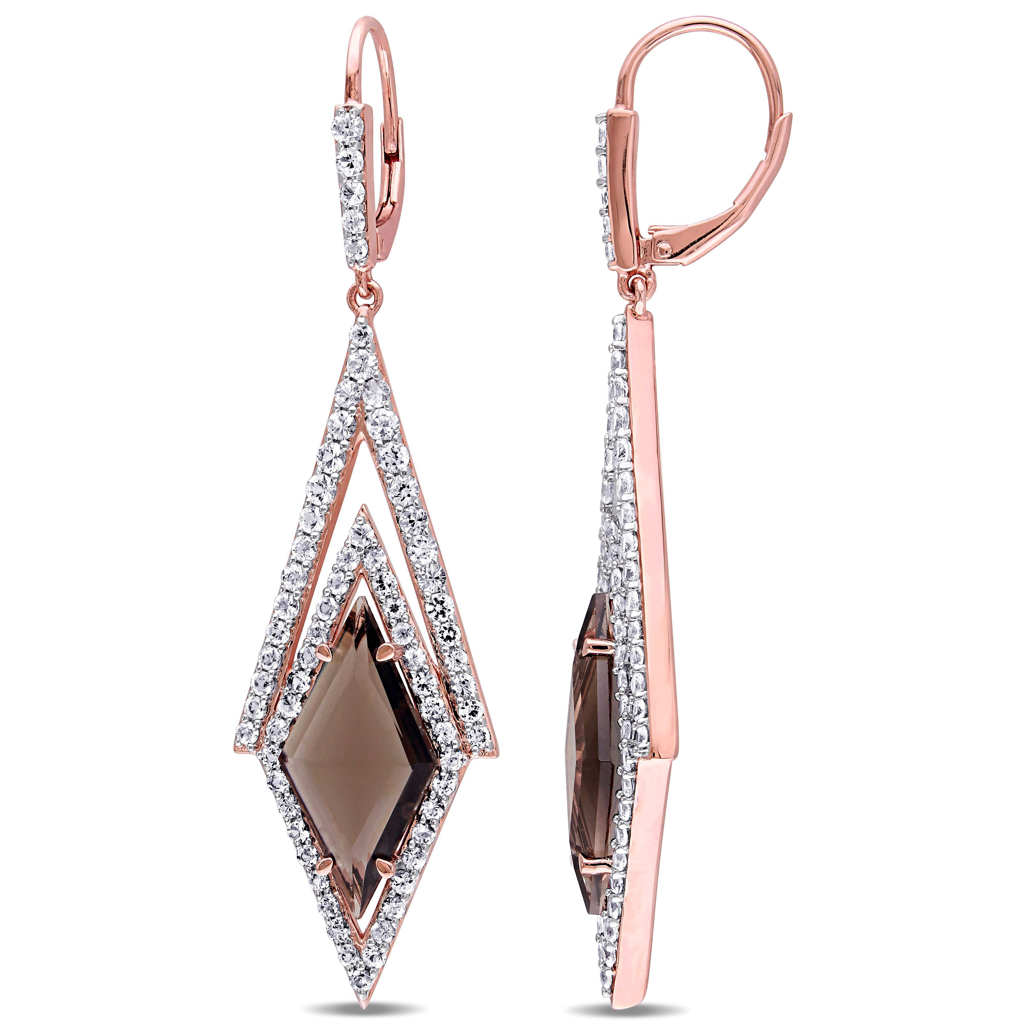 Versace 18k Rose Goldplated Sterling Silver 19.69 Abbigliamento Sportivo SRL Smokey Quartz and White Sapphire Drop Earrings Women's