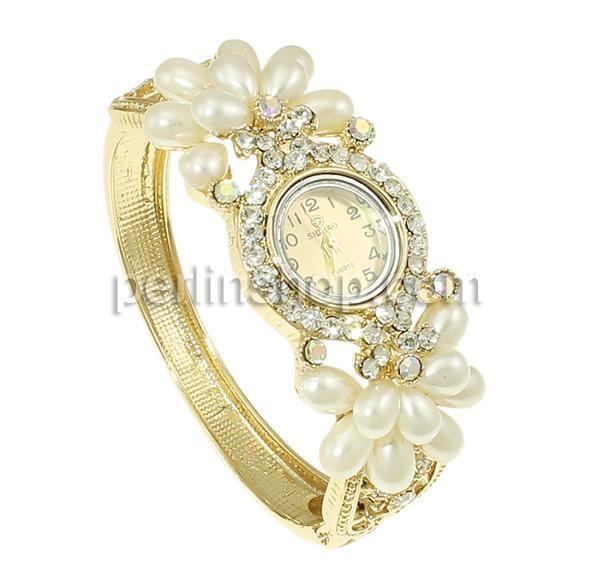 Zinklegierung Armbanduhr, mit Glas, goldfarben plattiert, mit Strass, frei von Nickel, Blei & Kadmium, 71x60x28mm, Länge:ca. 7.5 Inch