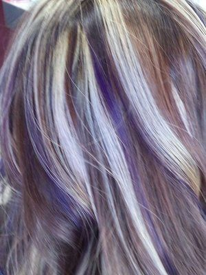 Purple Lowlights And Blonde Highlights Underlights Hair Hair Color Purple Purple Highlights Blonde Hair