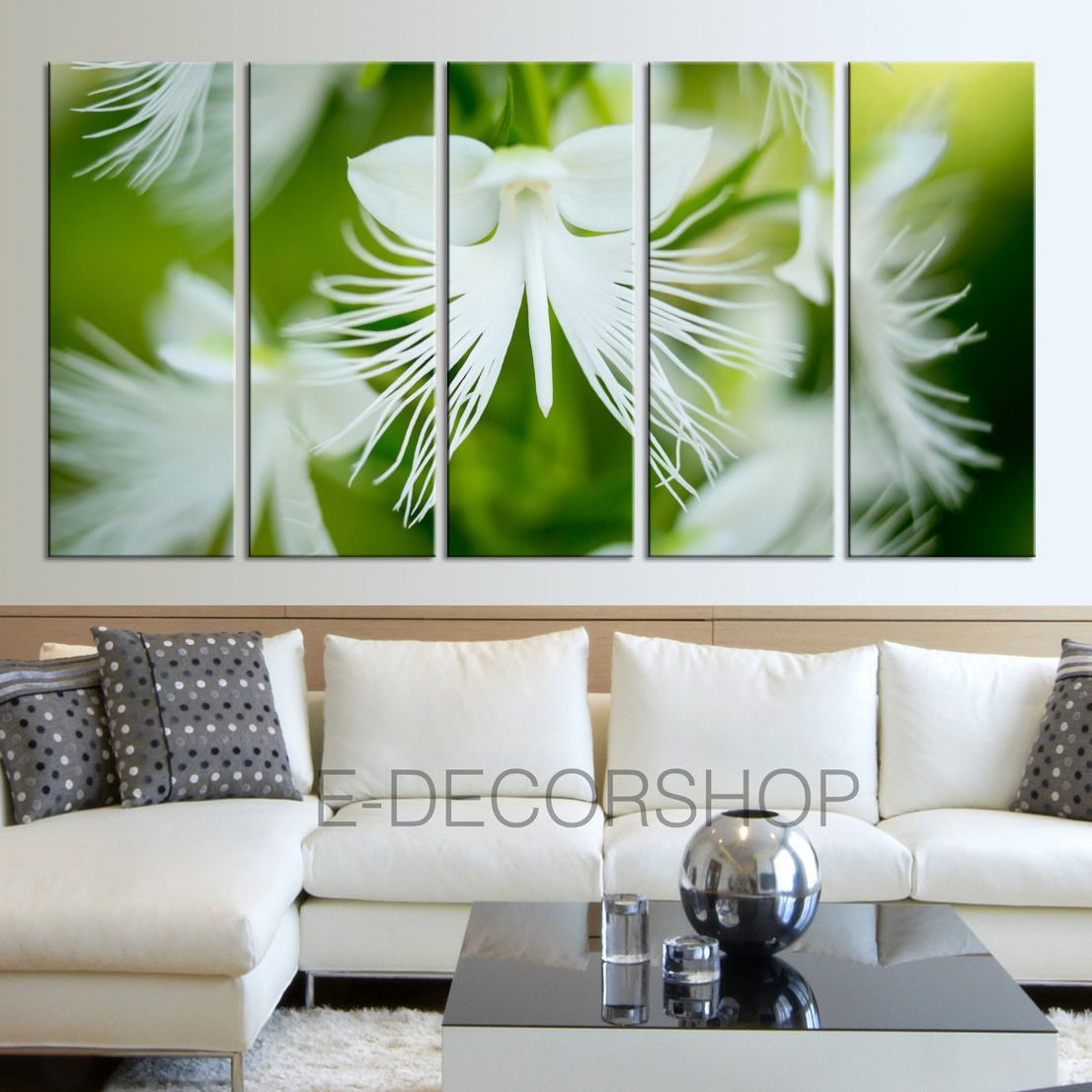 Extra Large Wall Art White Flowers And Green Leaves Canvas Print   Floral  Canvas Print