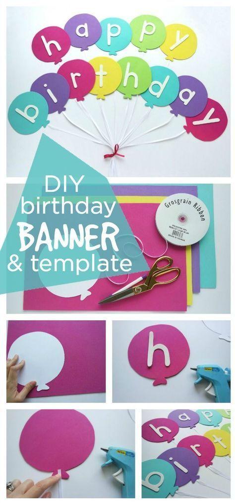 Happy Birthday Banner DIY Vorlage #diybirthdaydecor Happy Birthday Banner DIY Vorlage - Festliche Happy Birthday Ballon Banner mit einfachen Schritten und einem ...