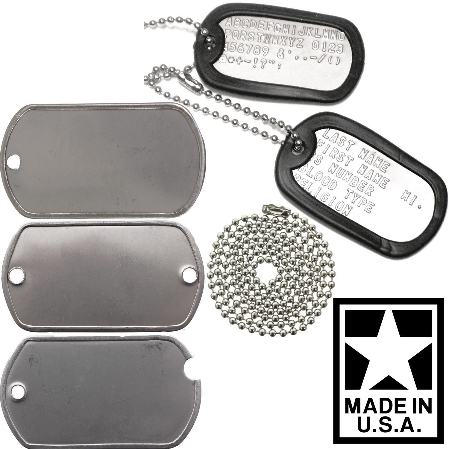 Made In USA Custom Printed Dog Tags Personalized Military GI Army ID Dogtag  Set d16c5e52921