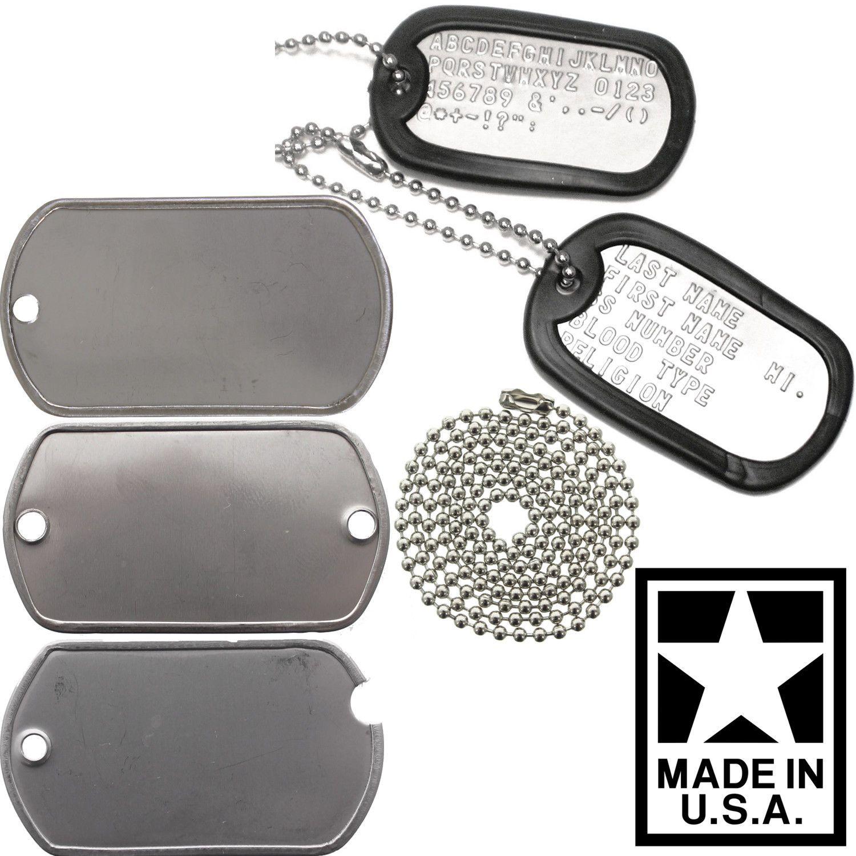 Made In USA Custom Printed Dog Tags Personalized Military GI Army ID Dogtag  Set 4ea7768aa993