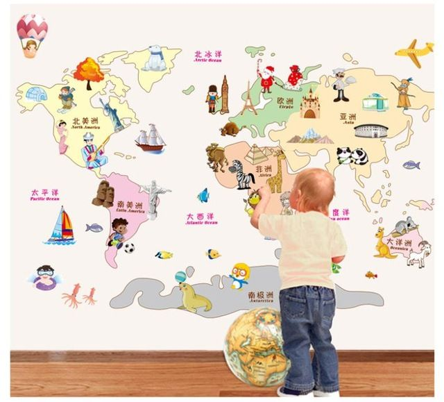 Bande dessinée Carte Du Monde Wall Sticker pour enfants chambre de bébé ZY9112 Creative 3D stickers muraux décor à la maison DIY World Trip CARTE