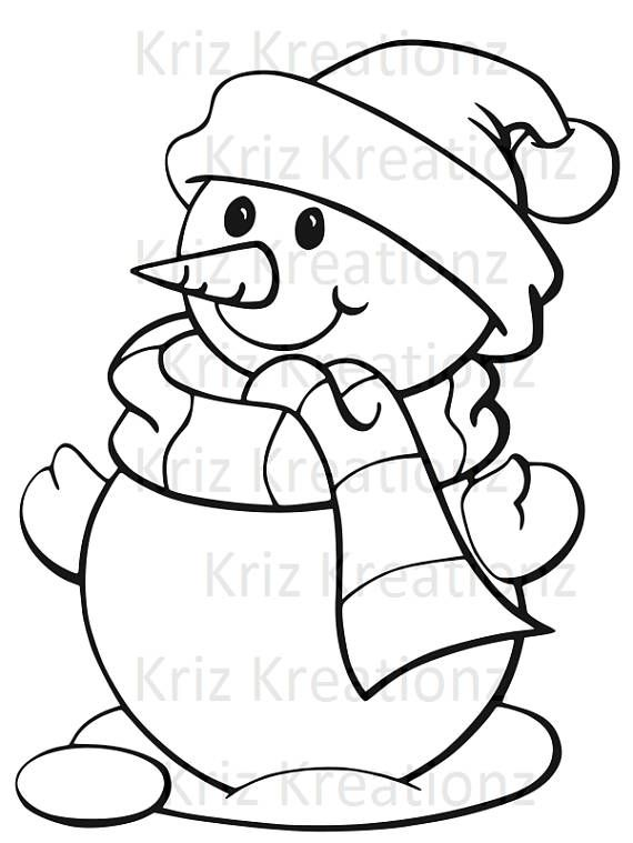 Snowman outline SVG Cut FIle Christmas Christmas