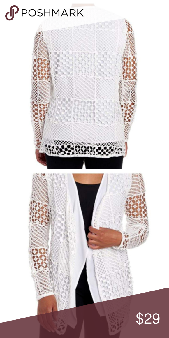 New White Crochet Cardigan Lace Sweater Cover Up Open Front Long