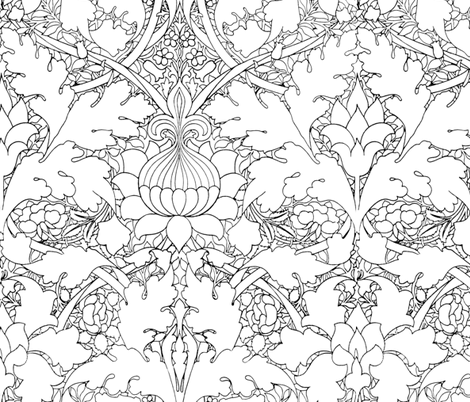 William Morris ~ Growing Damask ~ Black and White ~ COLOR