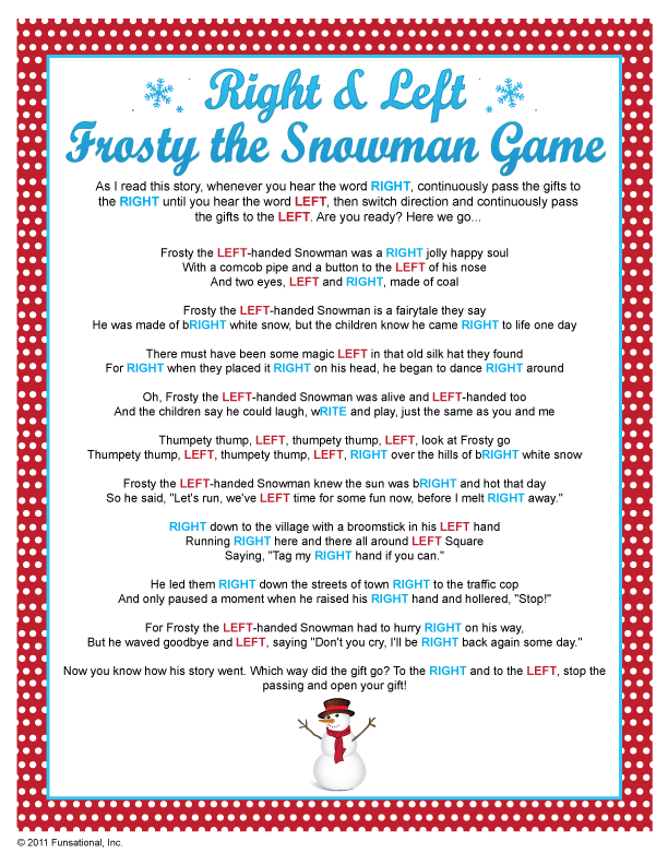 Baby Gift Exchange Ideas : Right left frosty the snowman game i have done one