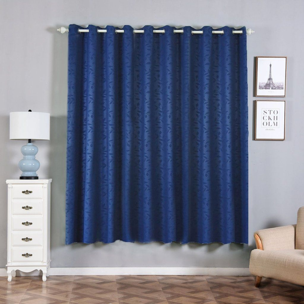 Navy Blue Blackout Curtains Pack Of 2 Embossed Curtains 52 X