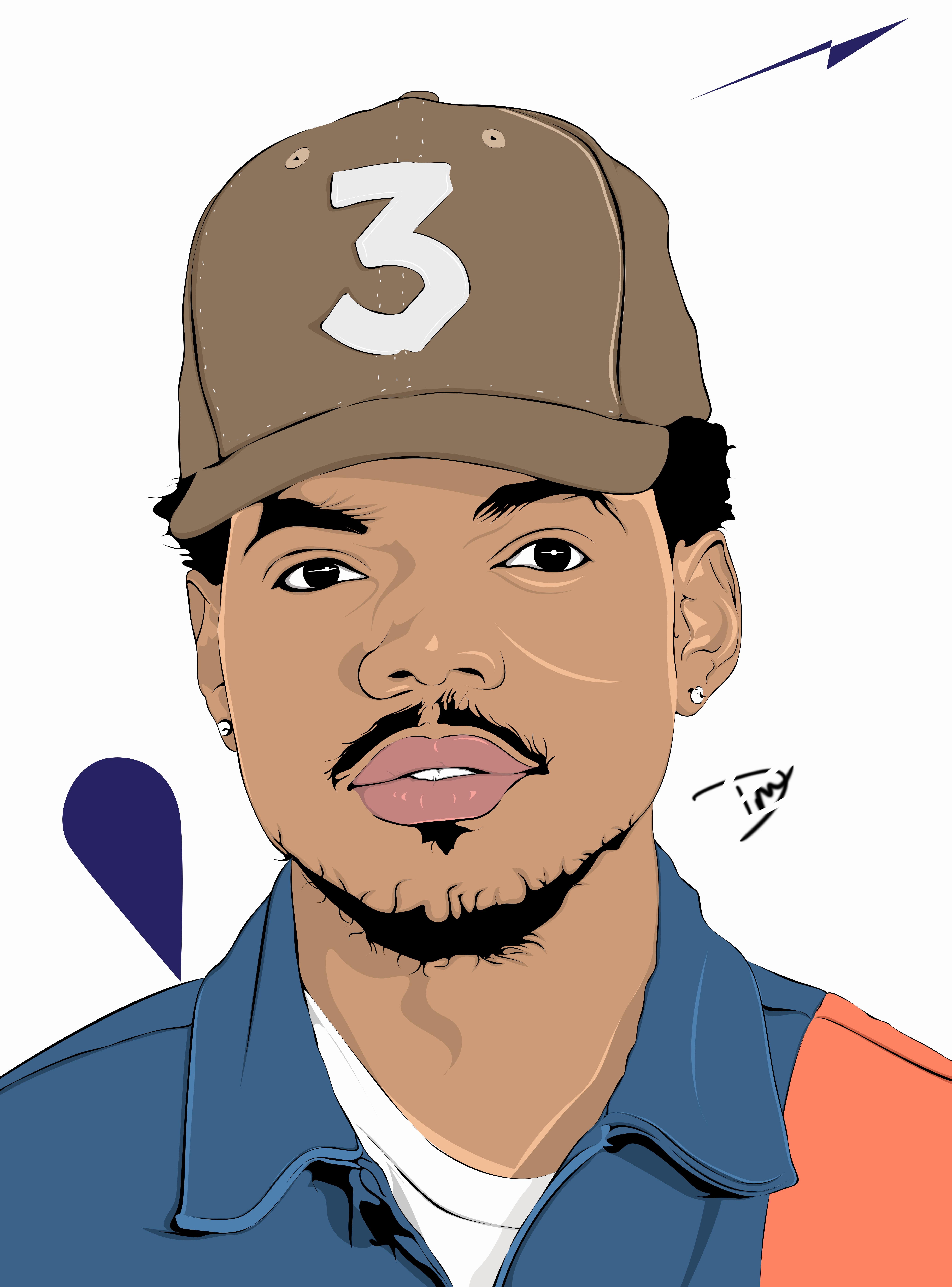 Chance The Rapper Vector Portrait Illustration Vector Portrait Illustration Chance The Rapper Art Portrait Illustration