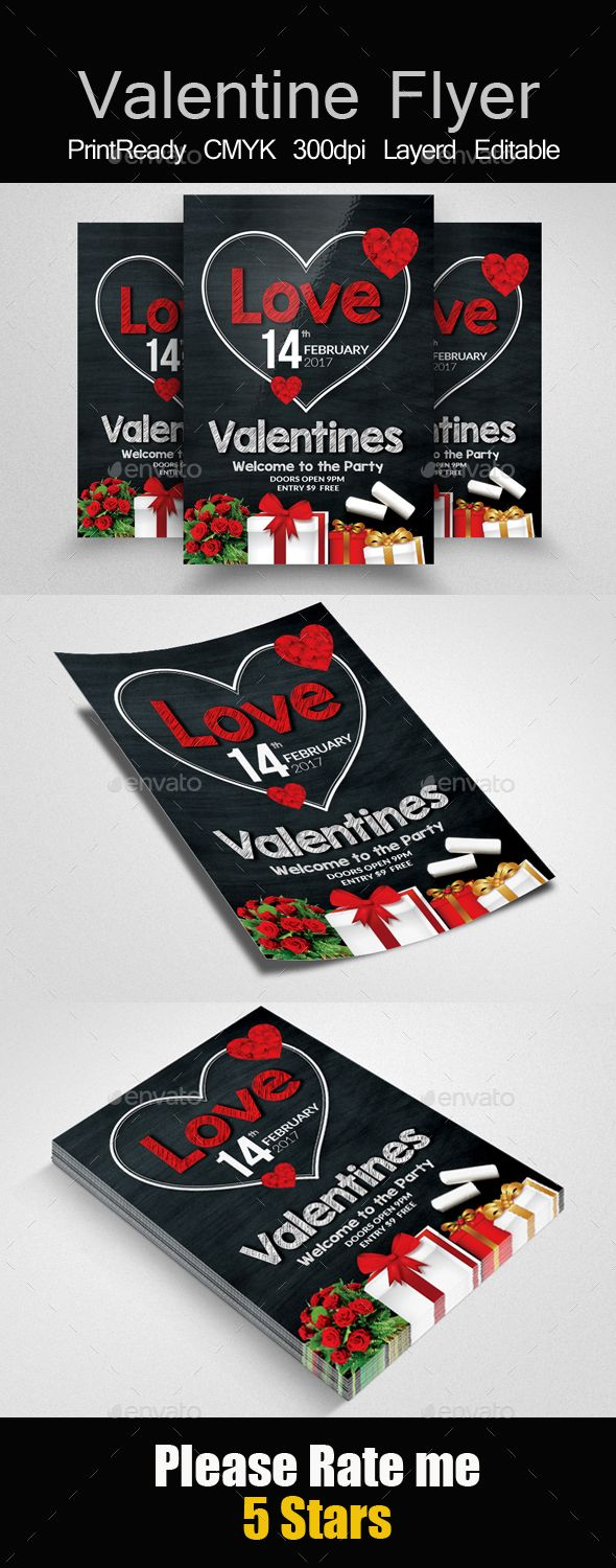 Chalkboard Valentines Party Flyer
