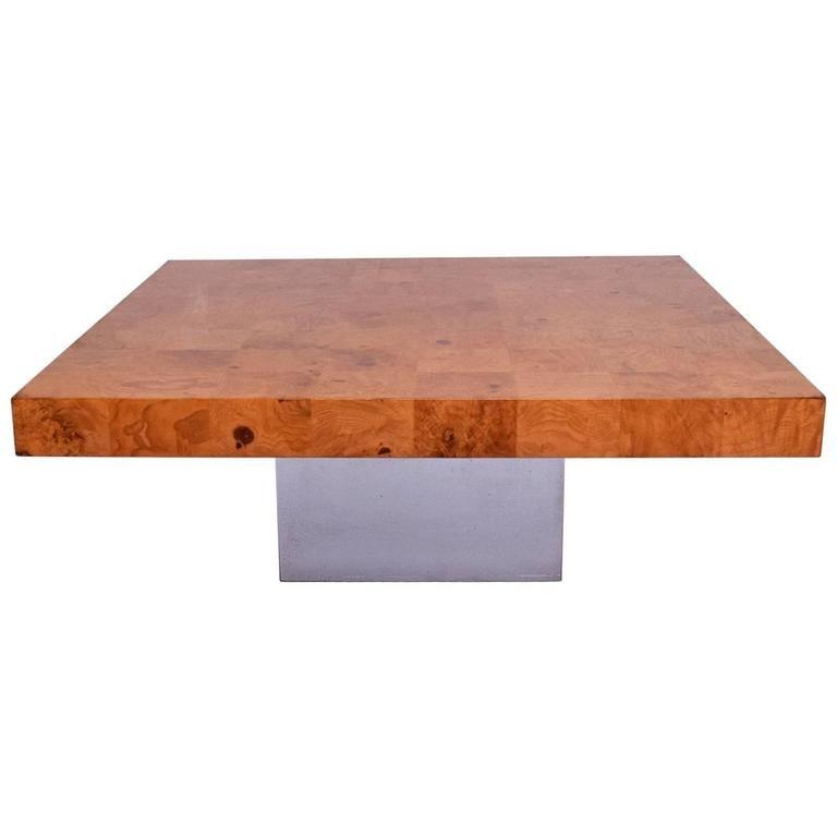 Milo Baughman Coffee Table Burl Wood And Chrome Base