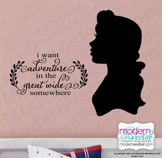 Beauty and the Beast Princess Belle Quote Vinyl Wall Decal Sticker Nursery Kids Room I want Adventure in the great wide somewhere quote by ModernVector (Etsy Shop for ModernVector) #AdventureNursery #Quotes is part of Wall stickers girl room - Beauty and the Beast Princess Belle Quote Vinyl Wall Decal Sticker Nursery Kids Room I want Adventure in the great wide somewhere quote by ModernVector (Etsy Shop for ModernVector) AdventureNursery Quotes