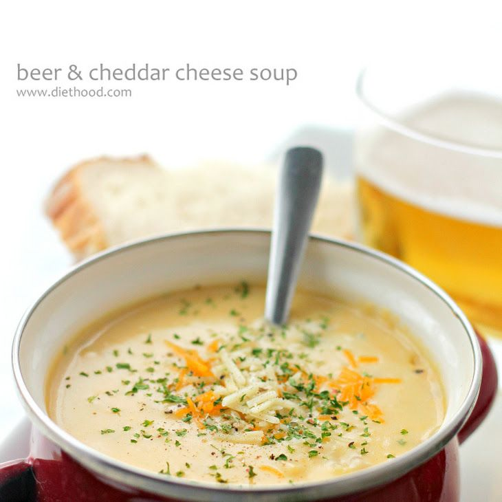 Beer Cheddar Cheese Soup + Blendtec Giveaway Recipe Soups with olive oil, yellow onion, carrots, salt, ground pepper, garlic cloves, butter, all-purpose flour, vegetable broth, beer, heavy cream, bay leaf, shredded cheddar cheese, fresh parsley