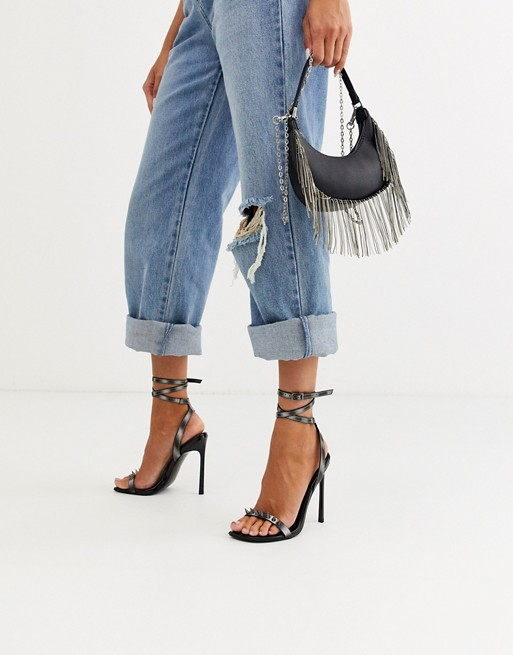 DESIGN Number barely there heeled sandals with studs in reflective #highsandals