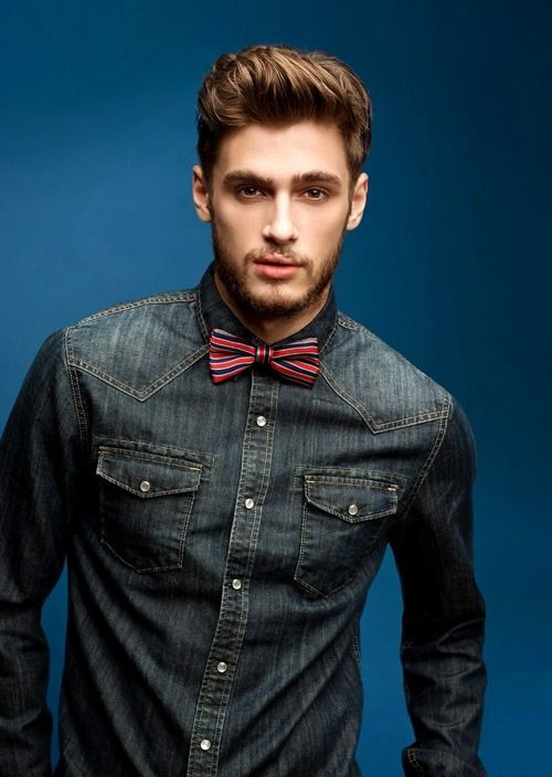 Interesting combination - denim shirt and bow tie. What do you think?