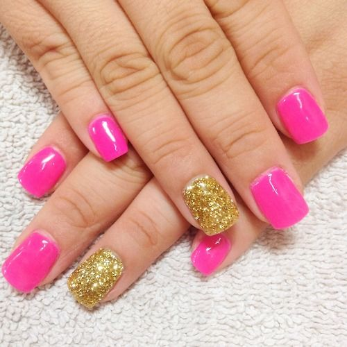 Hot Pink Nails With Gold Glitter Accent Nails Gold Nails Pink Nails White Acrylic Nails