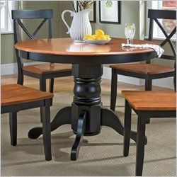 Home Styles Round Pedestal Casual Dining Table In Black And