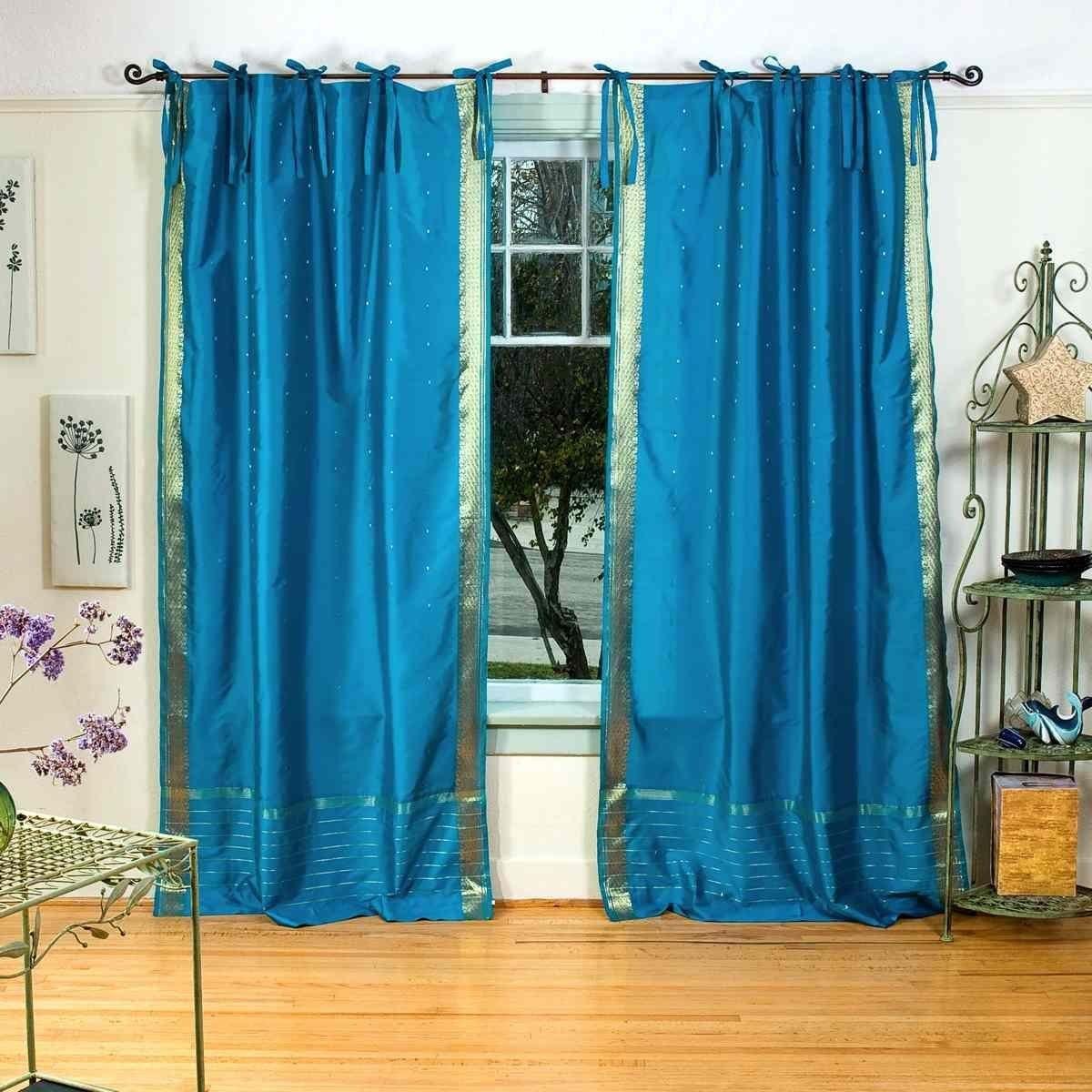 Turquoise Tie Top Sheer Sari Curtain / Drape / Panel - 43W x 84L - Piece: Amazon.co.uk: Kitchen & Home