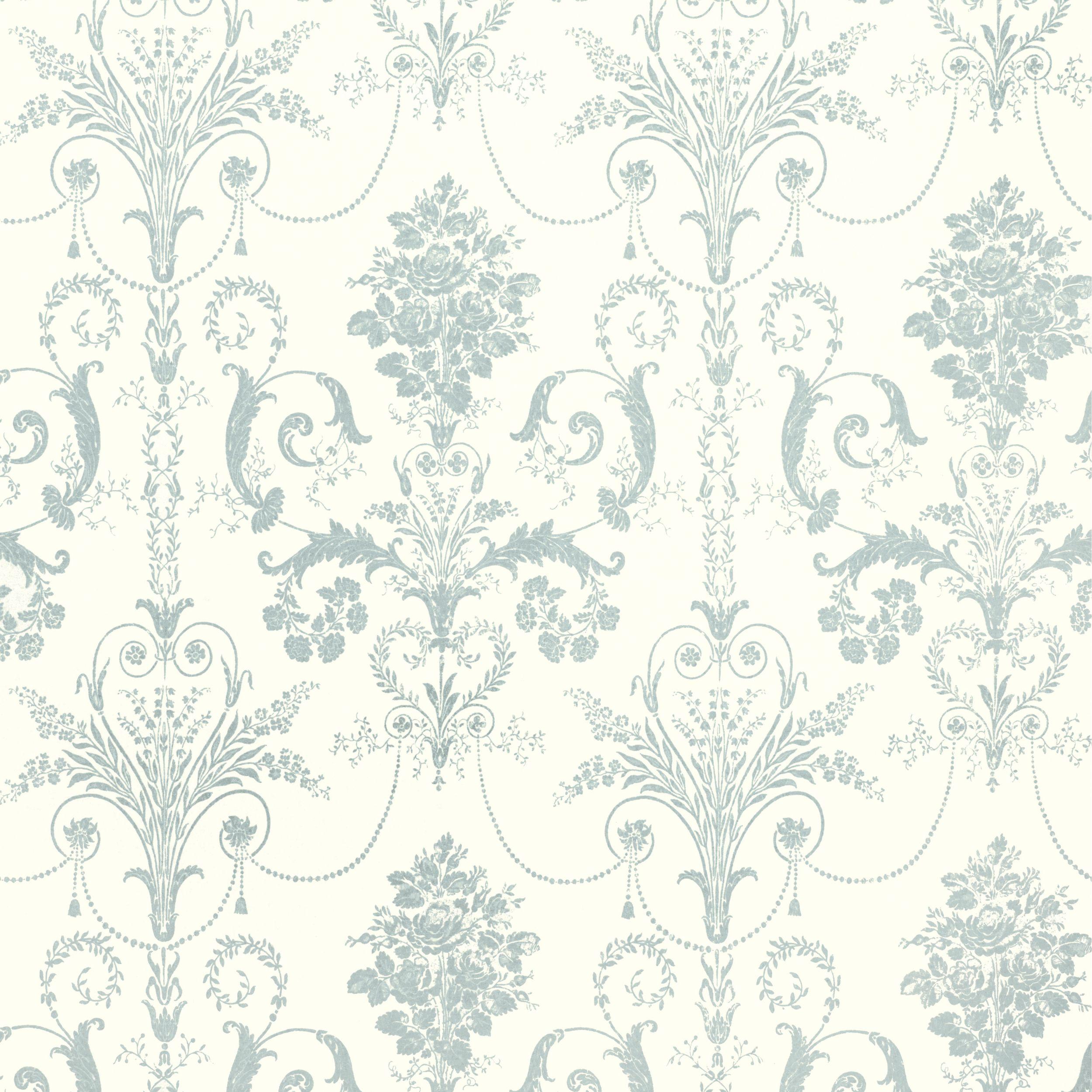 Josette Duck Egg White Wallpaper At Laura Ashley Bathroom