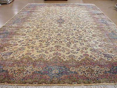 16 X 26 Persian Kerman Hand Knotted Wool Ivory Blue Extra Large