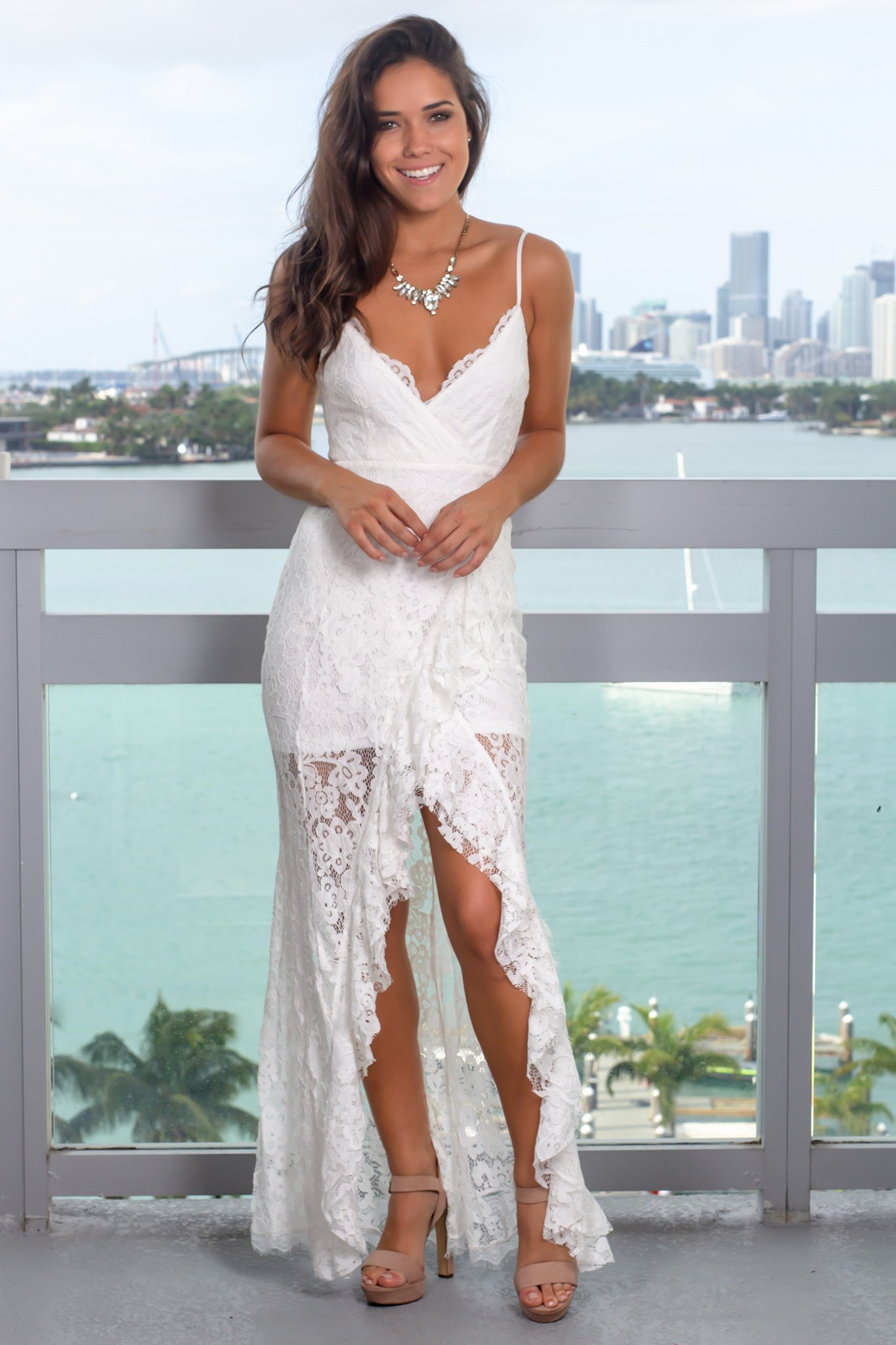 e246105ac7 White Lace Maxi Dress with Ruffle Detail | Maxi Dresses – Saved by the Dress