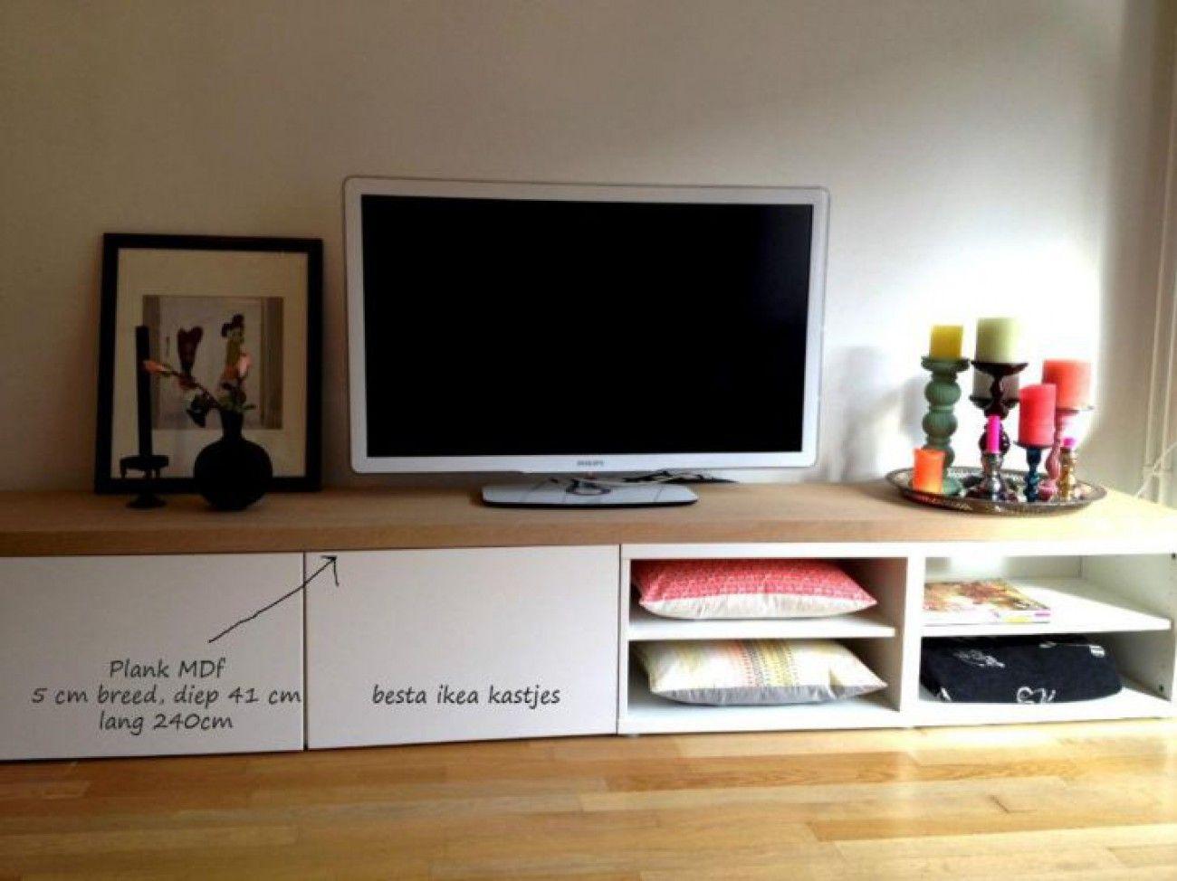 Leuk Tv Dressoir Van Ikea Besta Kastjes En Een Mdf Plank Erop  # Meuble Tv Ecran Plat Ikea