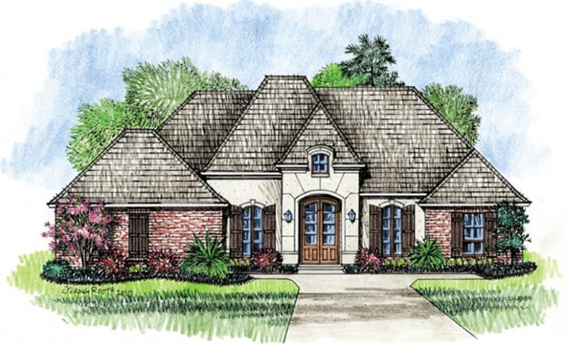 Front yard landscape idea 653639 Four Bedroom French Country