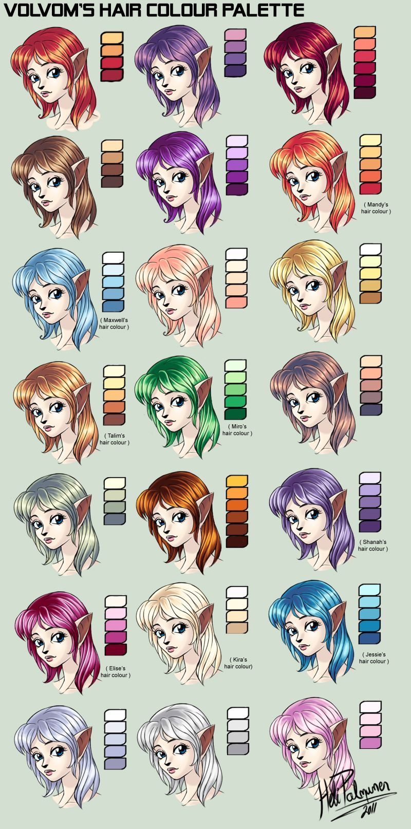 Anime Characters Of Color : My hair colour palette by volvom viantart on