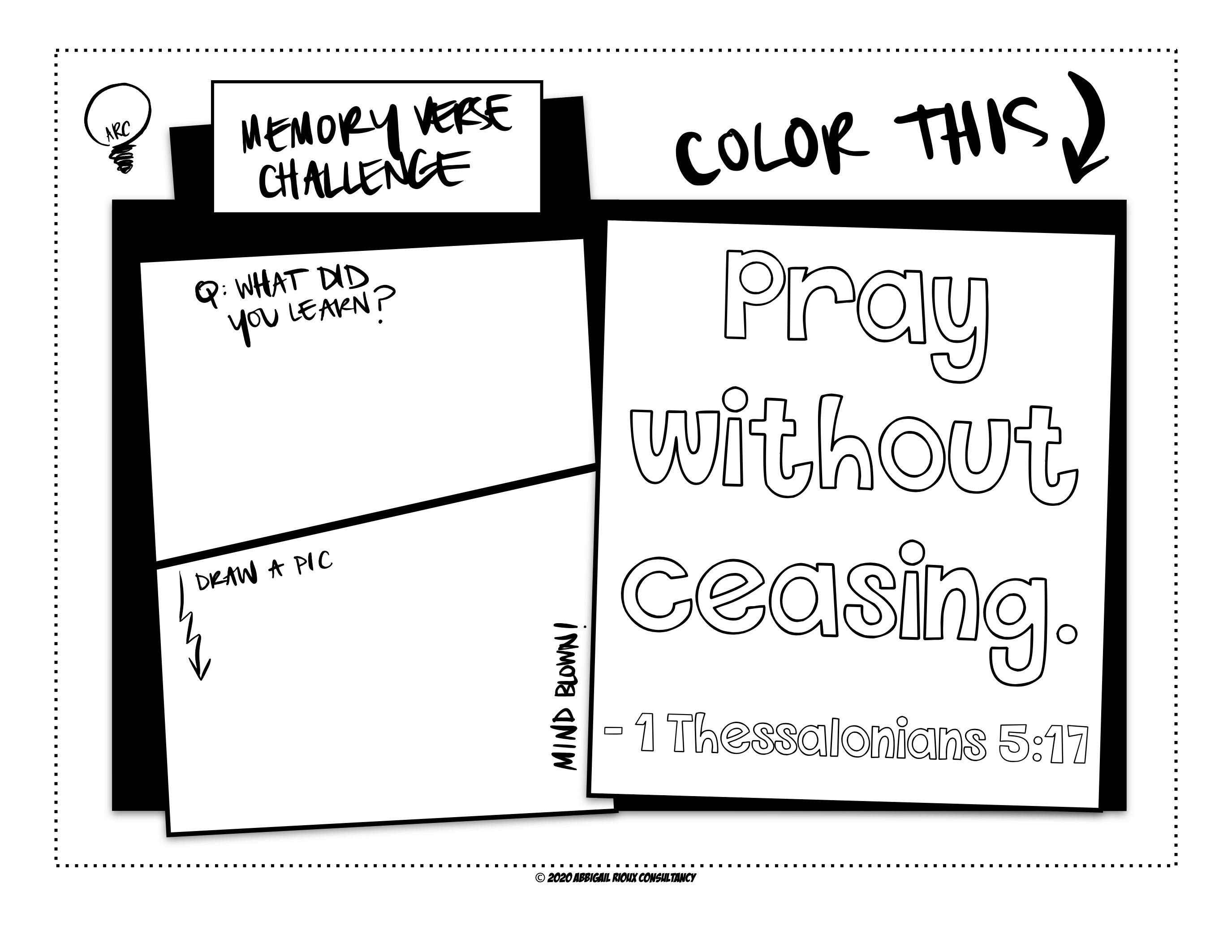 Kids Memory Verse Coloring Worksheet
