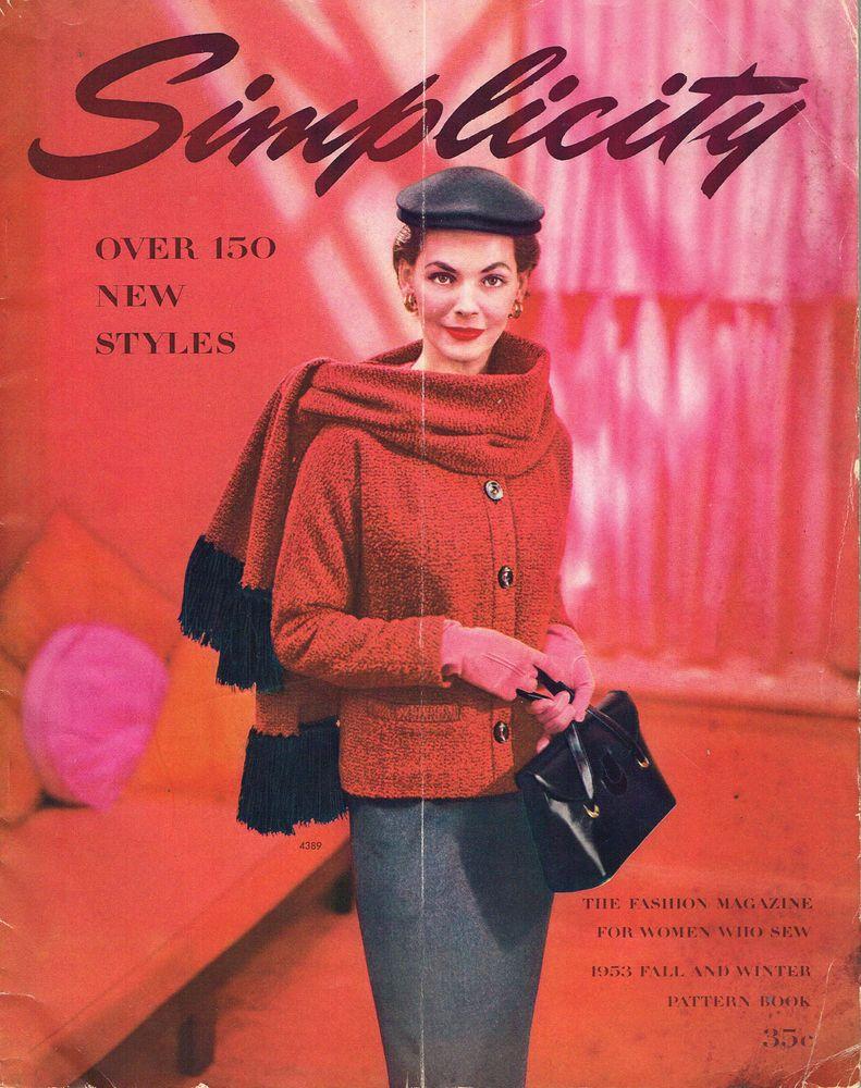 1950s Vintage Simplicity Fashion Magazine Pattern Catalog Fall ...