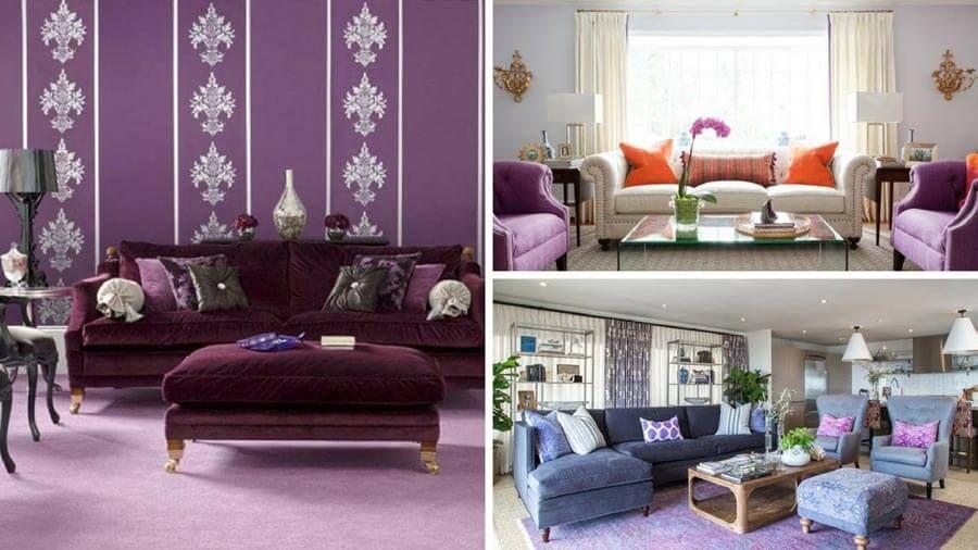 21 Simple Purple Living Rooms Decorating Ideas Purple Living Room Living Room Decor Lounge Design Purple decorating ideas living rooms