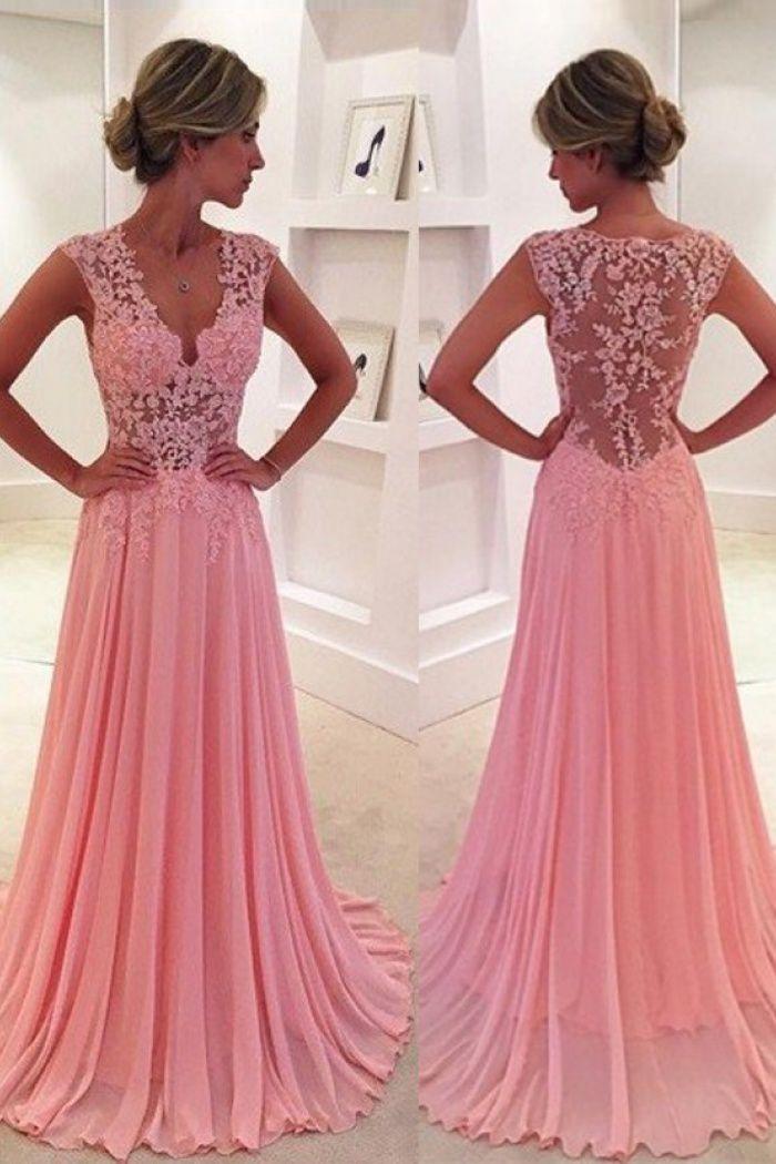 A-Line V-Neck Sweep Train Side-Zipper Pink Chiffon Prom Dress with ...