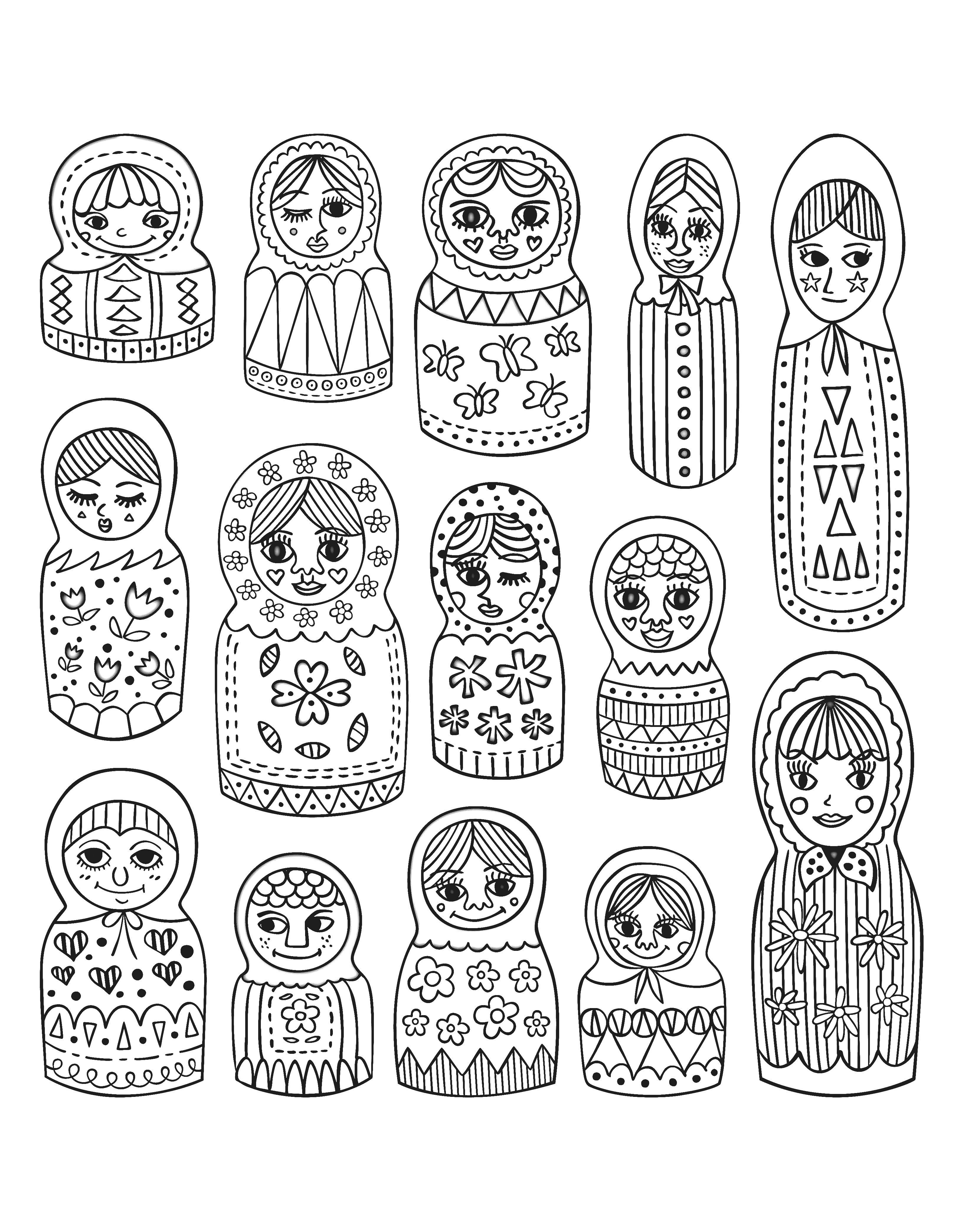 Free coloring page coloring-adult-cute-russian-dolls. Cute Russian ...