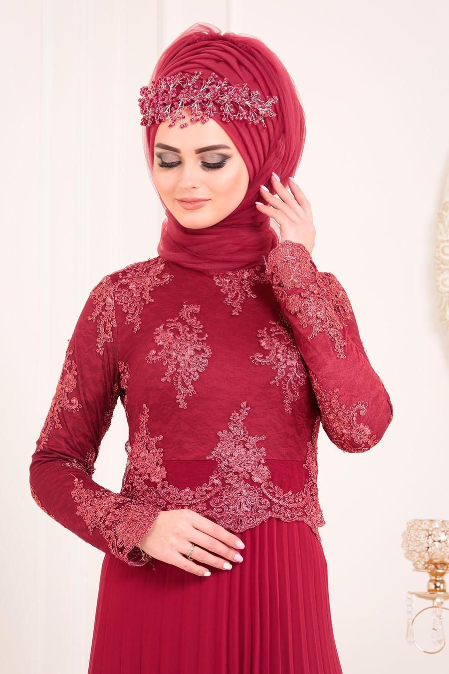 Photo of Tesettürlü Abiye Elbise  Dantel Detaylı Bordo Tesettür Abiye Elbise 8504BR  …