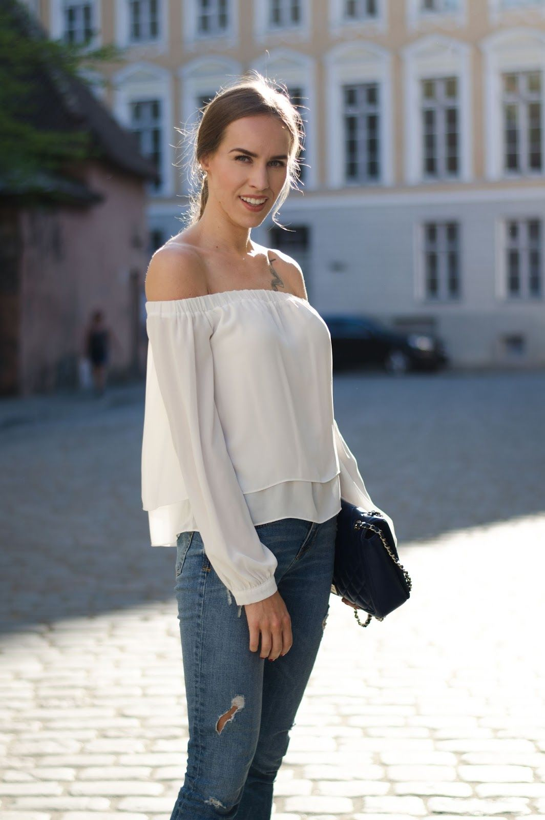f27e8a7ea315 kristjaana mere asos white off shoulder top zara jeans