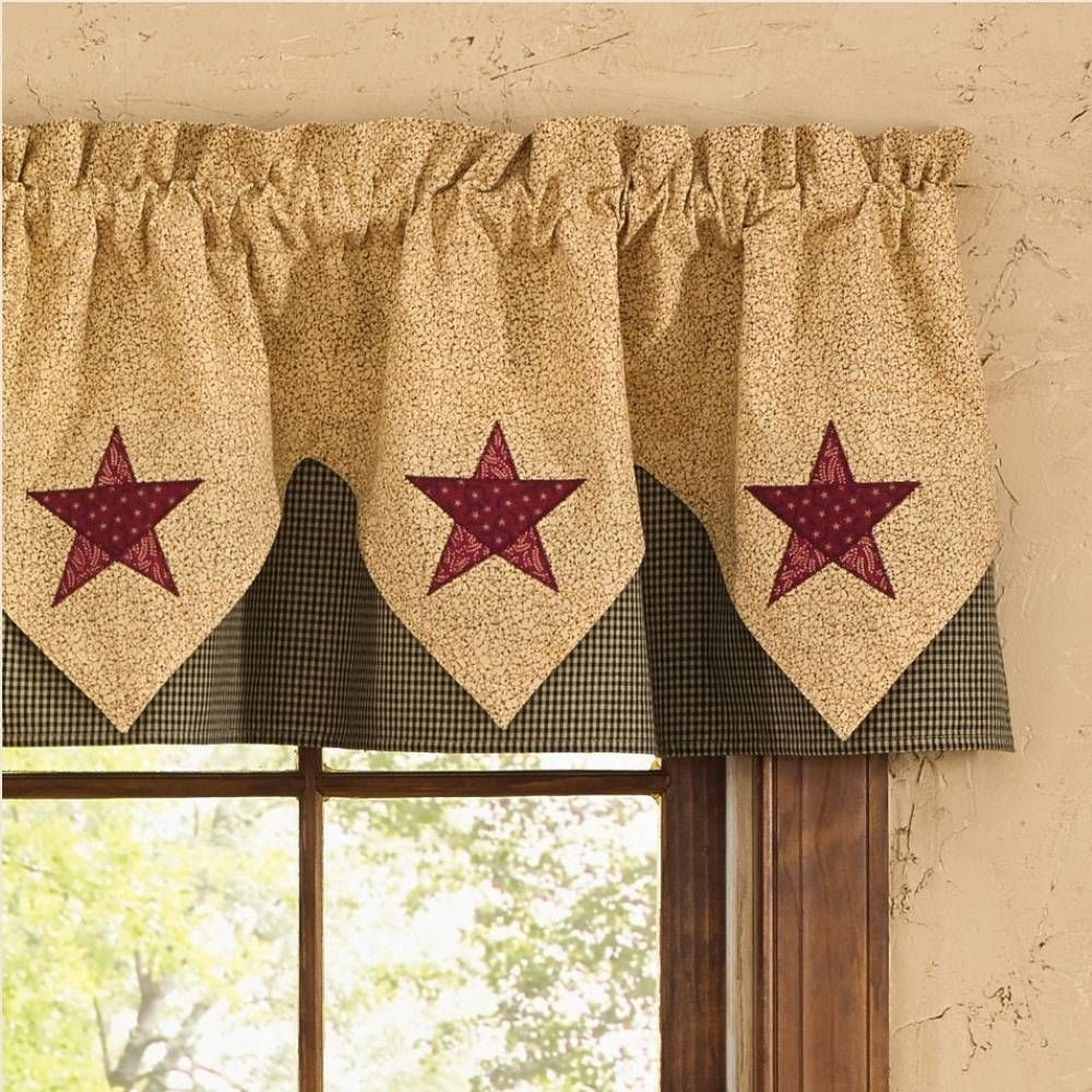 Country Point Valance Curtains Country Star In 2020 Country Valances Country Kitchen Curtains Valance