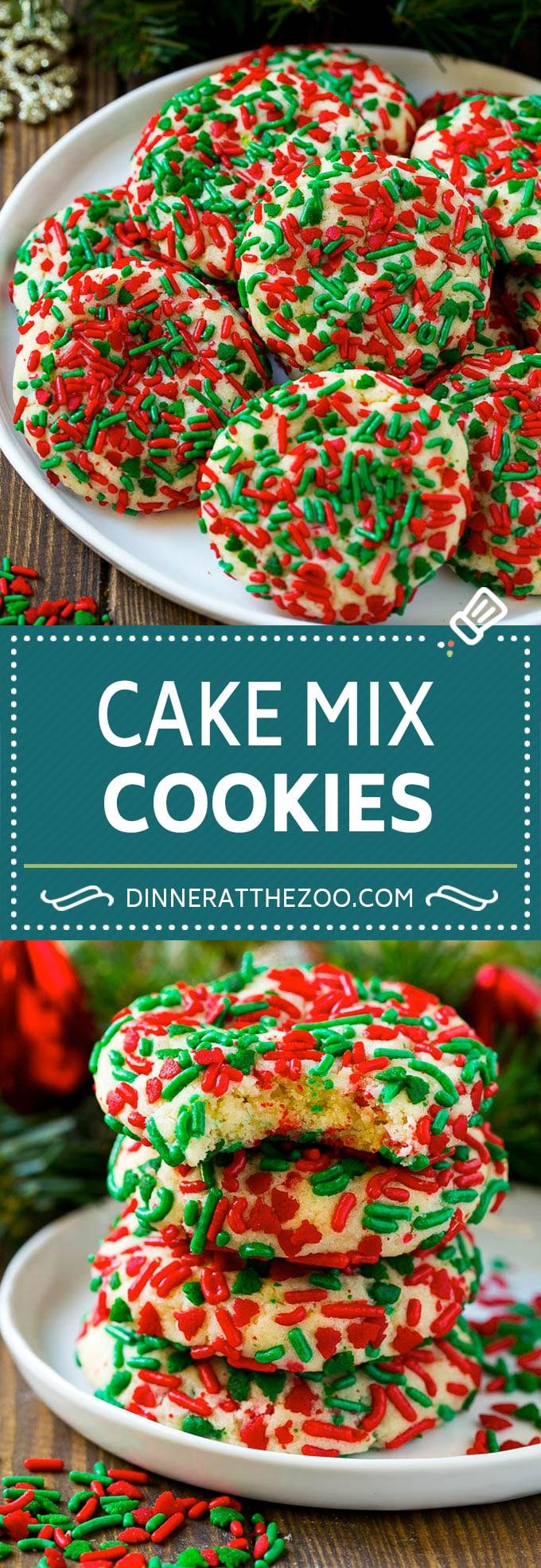 Cake Mix Cookies Recipe  Sprinkle Cookies  Christmas Cookies cookies